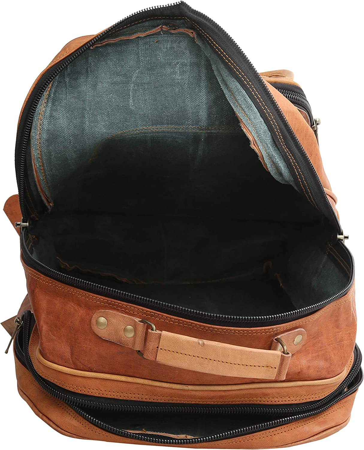 Goat Leather Backpack Handmade College Student Large Size Backpack Unisex