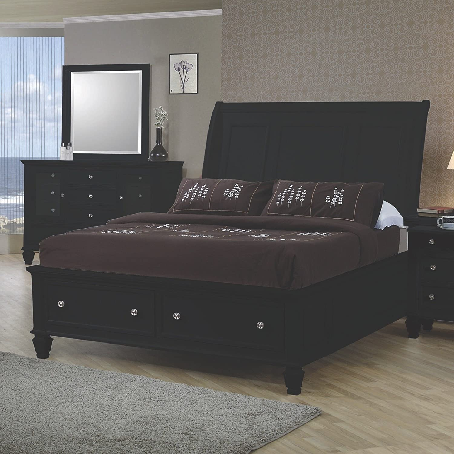 - Amazon.com: Coaster Home Furnishings Sandy Beach Queen Sleigh Bed