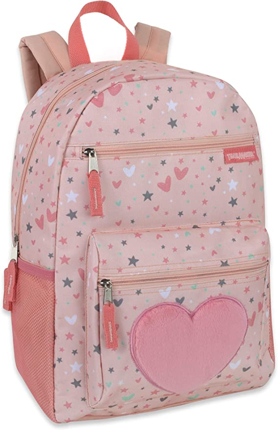 Girl's Backpack With Plush Applique And Multiple Pockets