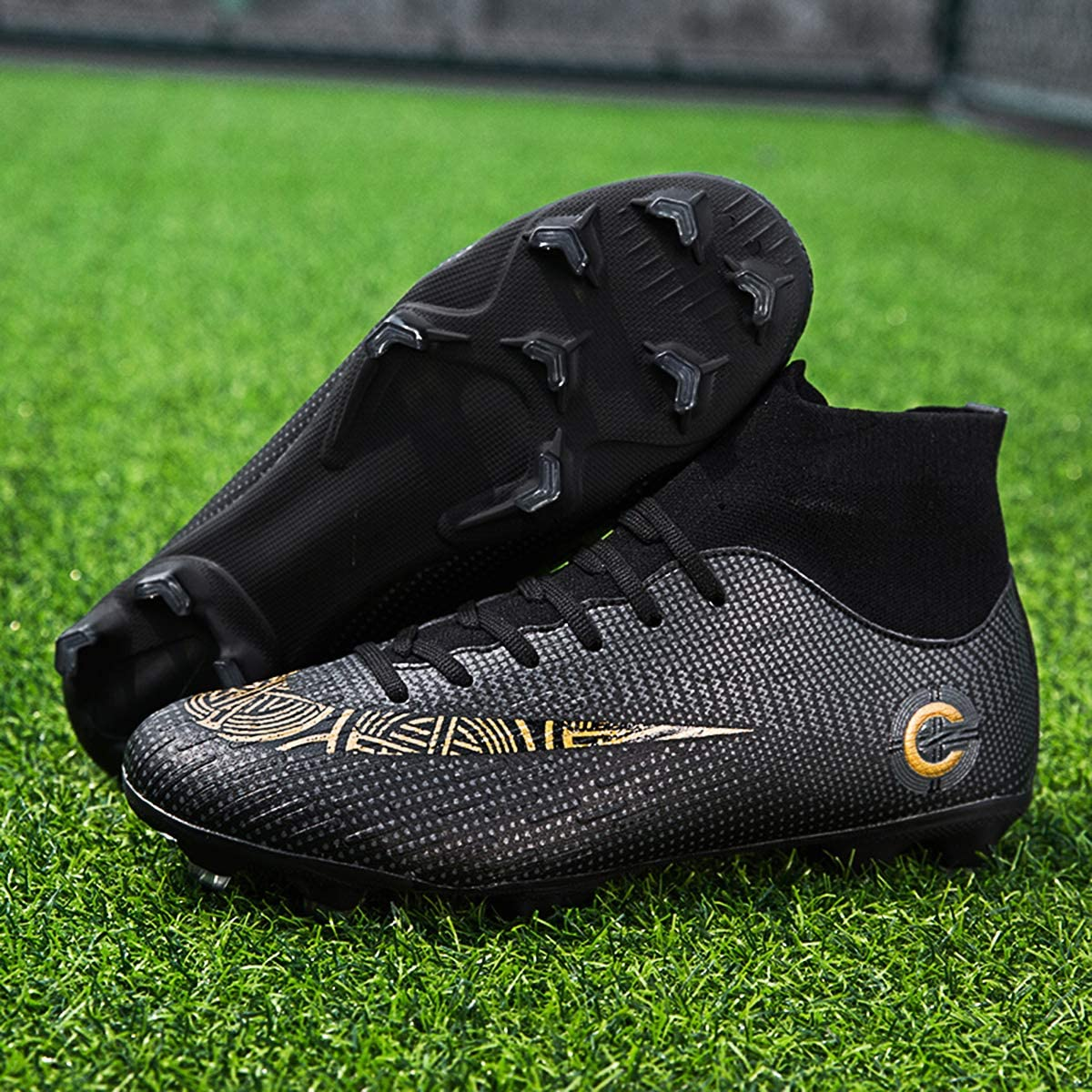 WRY Mens Football Boots Cleats Professional Spikes Soccer Shoes Competition//Training Boys Sneakers