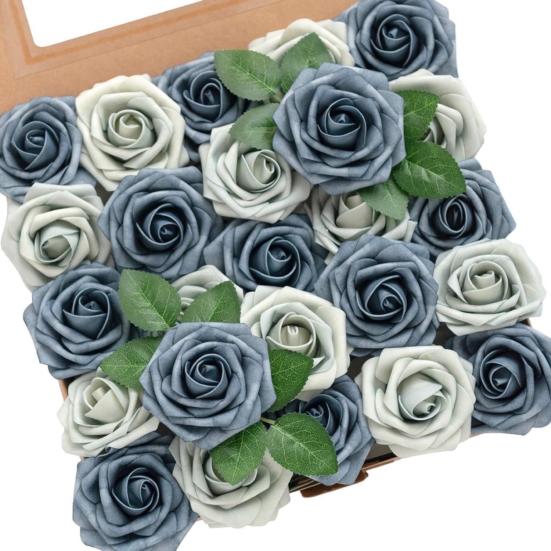 Ling's moment Roses Artificial Flowers 50pcs Realistic Dusty Blue Fake Roses w/Stem for DIY Wedding Bouquets Centerpieces Floral Arrangements Decorations