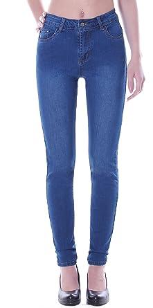 Style Station24 Damen Übergrößen Hochschnitt Jeans Hose Stretch High Waist Röhrenjeans blau 38 bis 50