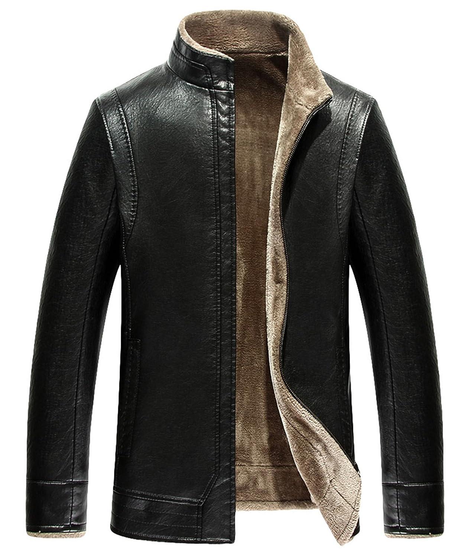 men Fur Leather jacket Business leather Plus thick velvet warm Leather coat PU Leather jacket