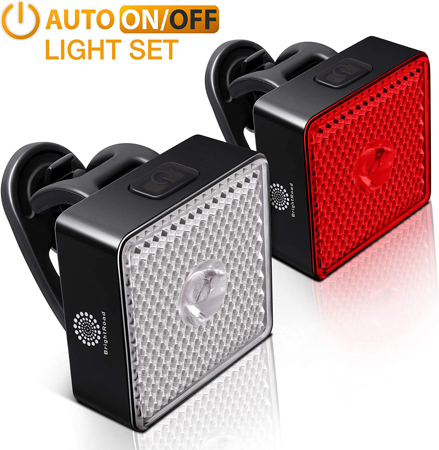 BrightRoad Rechargeable Front 800 /& Back 40 Lumens Bicycle Light set Auto ON OFF