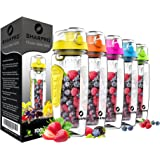 Sharpro 32 oz. Infuser Water Bottles - Featuring a Full Length Infusion Rod, Flip Top Lid, Dual Hand Grips