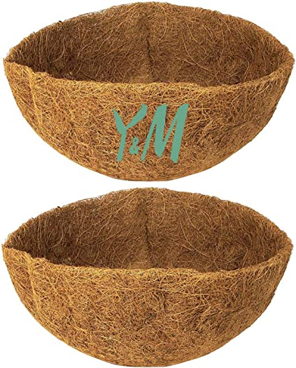 Bonus moisturizing sponges for keeping liner hydrated /& healthy 2 PCS Coconut fiber replacement thick liner 14 inch round basket coco liners for planters hanging wall basket outdoor coir planter