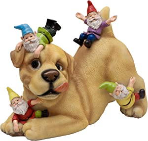 TERESA'S COLLECTIONS Dog Gnome Garden Statue, Funny Dog Playing with Gnomes Outdoor Lawn Gnome Decoration - Best Art Decor for Home Yard Or Office 9 Inches Tall