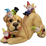 TERESA'S COLLECTIONS Dog Gnome Garden Statue, Funny Dog Playing with Gnomes Outdoor Lawn Gnome Decoration - Best Art…