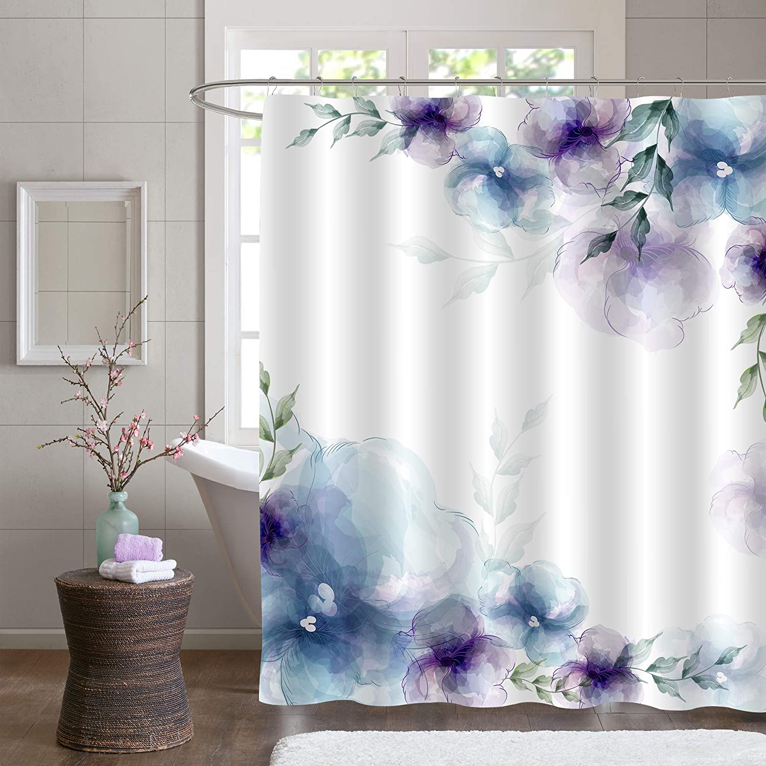 """MitoVilla Retro Spring Floral Shower Curtain, Blue Purple Flowers and Green Leaves Art Print Bathroom Accessories for Women and Girls Flowered Home Decor, 72"""" W x 72"""" L Standard for Bathtub"""