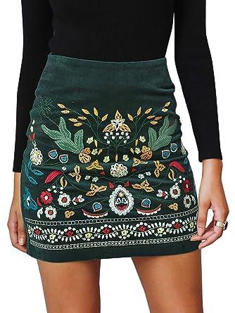 Annybar Damen Kurz Skirt Sexy Elegant A Linien Rock Kord Rocke