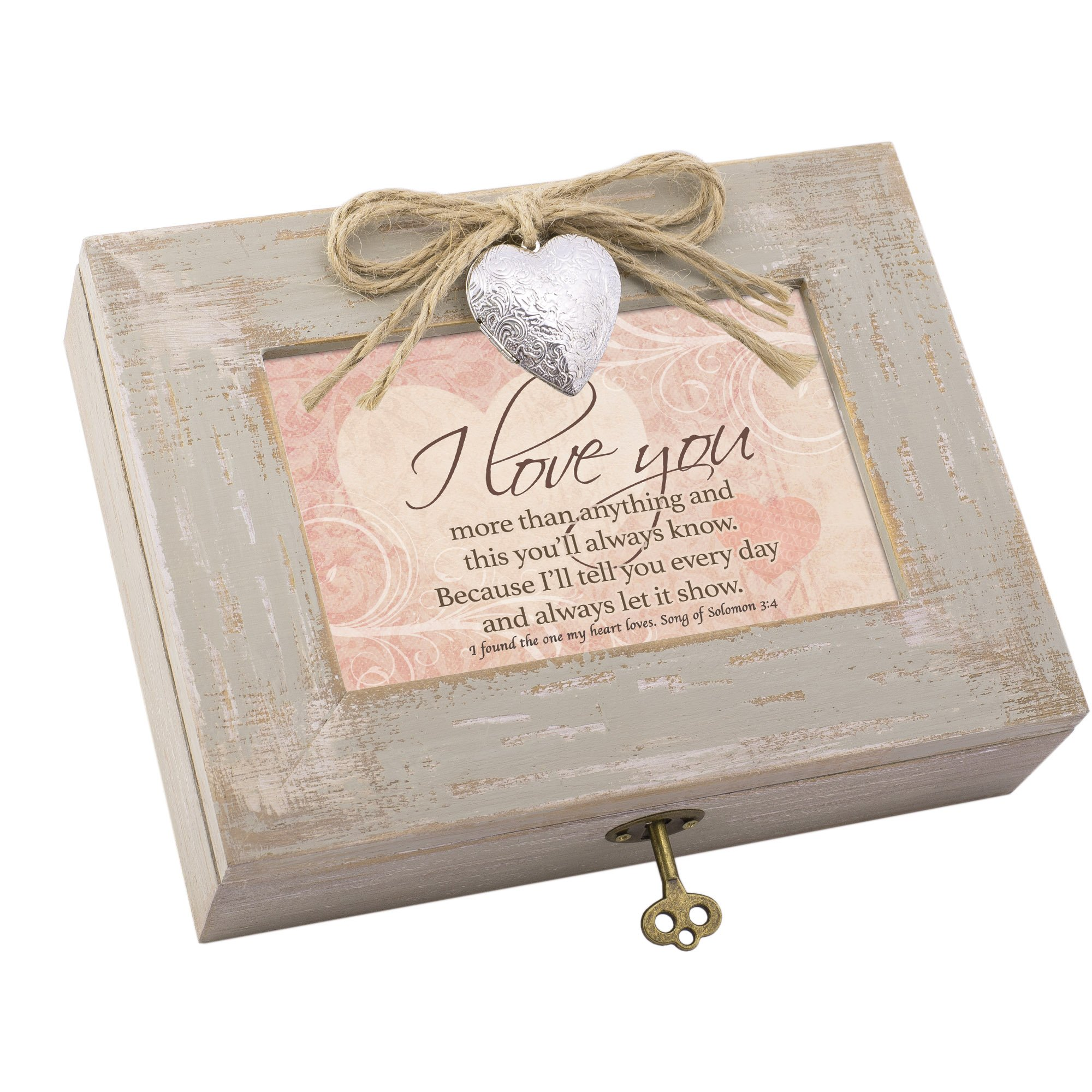 Cottage Garden I Love You More Natural Taupe Wood Locket Box Music Box Plays How Great Thou Art by Cottage Garden (Image #1)