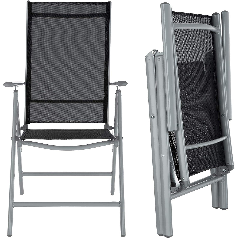 TecTake Aluminio Conjunto Muebles para Jardin 6+1 Silla Adjustable Mesa Cristal terraza (Gris Plateado | No. 402167): Amazon.es: Jardín