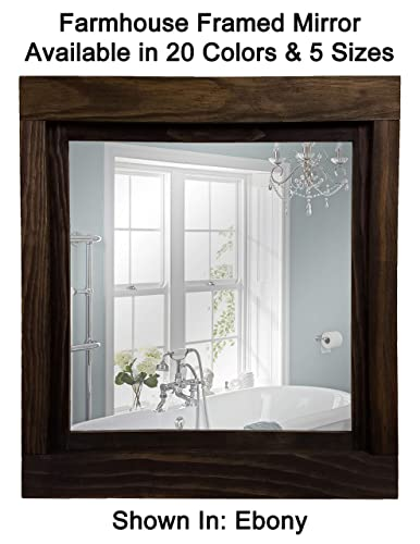 Attirant Farmhouse Large Framed Mirror Available In 5 Sizes And 20 Colors: Shown In  Ebony   Large Wall Mirror   Bathroom Mirror   Rustic Wall Decor    Decorative Wall ...
