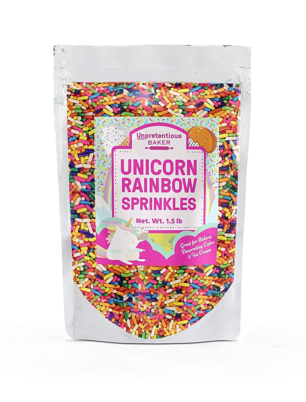 Rainbow Sprinkles Unpretentious Baker, Rainbow Jimmies, Clear Resealable Bag (1.5 lb)