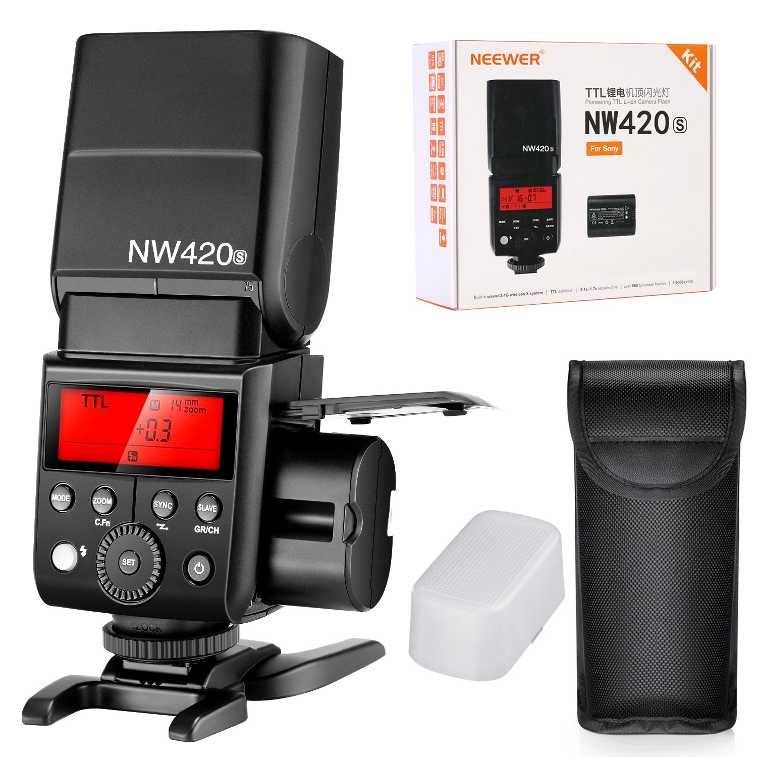 Neewer 2.4G HSS 1/8000s TTL GN36 Wireless Master Slave Flash Speedlite With 2000mAh Li-ion Rechargeable Battery 500 Full Power Flashs for Sony A9 A7RIII A7RII A7R A6000 A58 A99 A77II Cameras(NW420S)