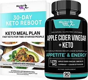 Slim Girl Keto Organic Apple Cider Vinegar Capsules + BHB Salts Keto Pills for Women   Enter Ketosis 5X Faster While Replenishing Minerals Without The Taste or Smell