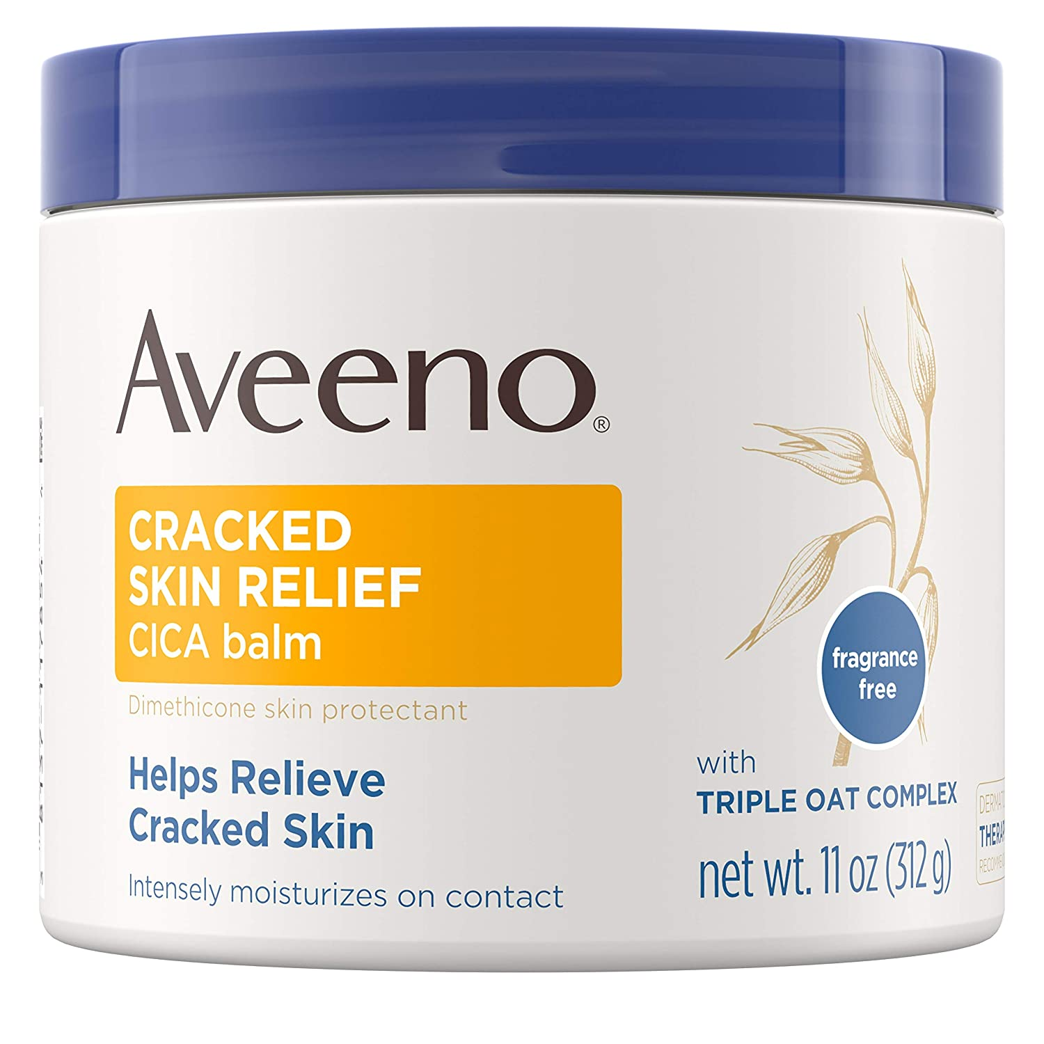 Aveeno Cracked Skin Relief CICA Balm with Triple Oat Complex, Moisturizing Dimethicone Skin Balm, Fragrance-Free, 11 oz