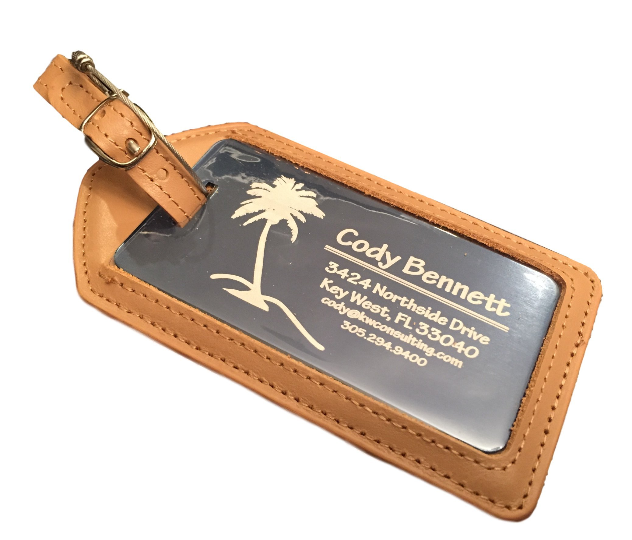 Qualtry Personalized Luggage Tags with Genuine Leather Case - Engraved Aluminum Luggage Tag, Suitcase Name Tags (Coral Leather Case)