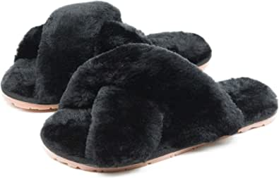 Women's Fuzzy Fluffy Furry Fur Slippers Flip Flop Open Toe Cozy House Sandals Slides Soft Flat Comfy Anti-Slip Spa Indoor Outdoor Slip on