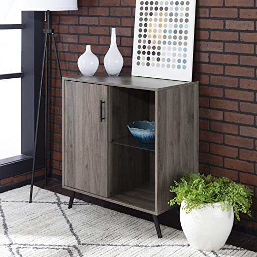 Walker Edison Furniture Company Mid-Century Modern Buffet Sideboard Kitchen  Dining Storage Bar Cabinet Living Room, Slate Grey