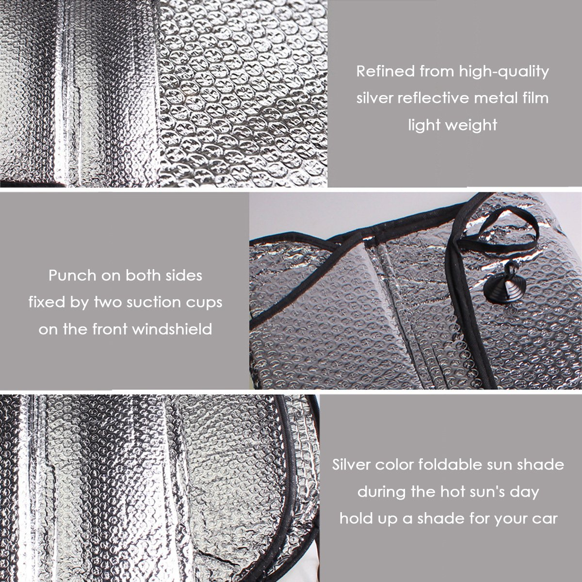 Windshield Visor,Universal Portable Multi-purpose Foldable 2PCS RAYTHEONER Car Sun Shades Car Front Rear Window Sunshade Aluminium Foil,Silver Visor Cover