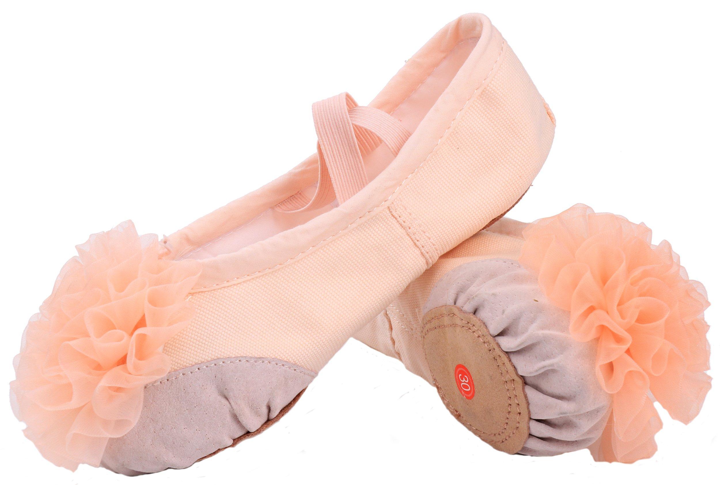 LONSOEN Flower Girls Ballet Slipper Shoes Leather Split-Sole Dance Flat (Toddler/Little Kid/Big Kid),SHC552 Nude Flower CN31