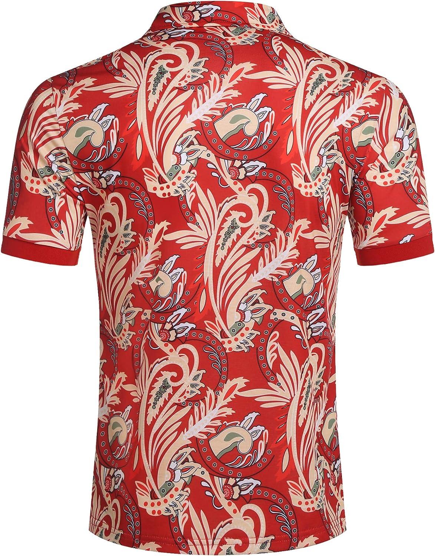 COOFANDY Mens Paisley Polo Shirt Casual Short Sleeve Floral Print Shirt