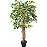 Homescapes 4 Feet Variegated Ficus Tree With Real Wood Stems and Lifelike Leaves Replica Artificial Plant