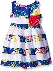 f1d0cb47b Sweet Heart Rose Girls' Striped Floral Shantung Dress