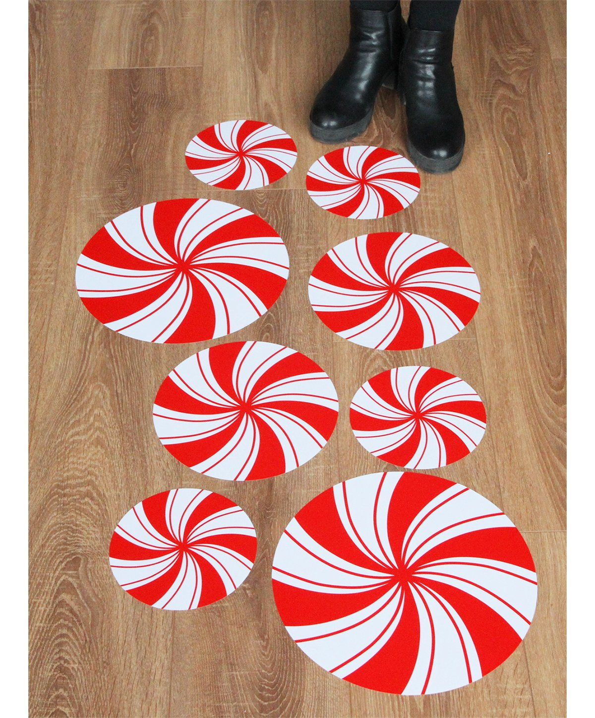 Peppermint Floor Decals Stickers for Christmas Candy Party Decoration 8 Pcs by ceiba tree (Image #1)