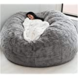 EKWQ 7FT Bean Bag Chair Cover, Living Room Furniture Big Round Soft Fluffy(Only Cover, No Filler) Faux Fur BeanBag Lazy Sofa
