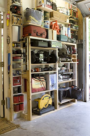 EZStudRack Shelving System For Garages, Sheds, Pantries, Closets, And More.  Includes