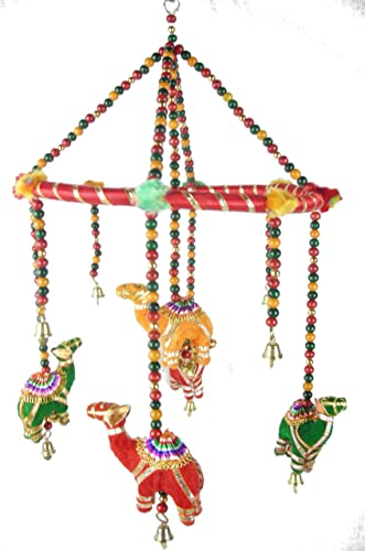 handmade Decorated Camel Mobile with Wood Beads and Brass Bells