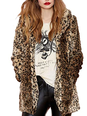42c914c942fa1 Aukmla Women s Faux Fur Coat Leopard Print Cardigan Mid-Length Lapel Jacket  Overcoat with Pockets