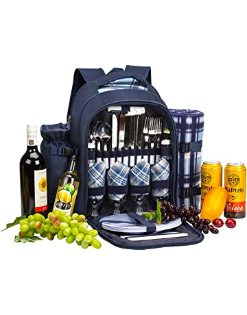 apollo walker 4 Person Picnic Backpack Hamper Cooler Bag con Juego de Mesa y Manta