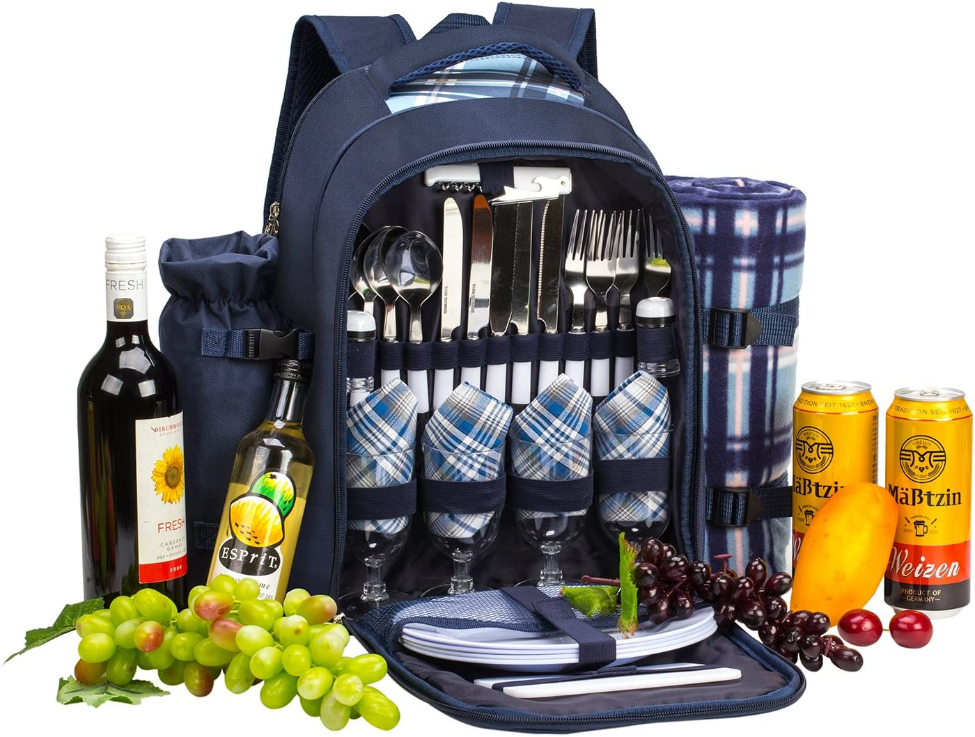 Picnic Blanket and Picnic Cutlery//Dinning Set Includes Removable Bottle Holder and Wine Carrier apollo walker 4 Person Picnic Backpack with Insulated Cooler Compartment