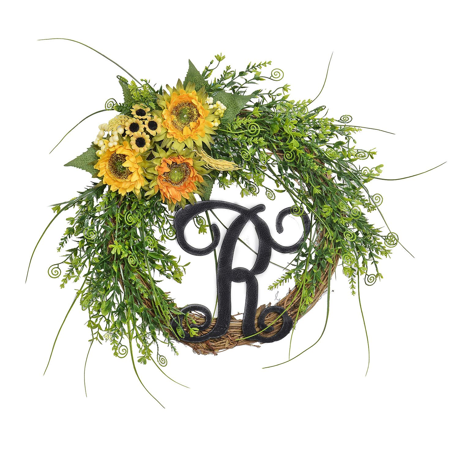 FAVOWREATH 2018Vitality Series FAVO-W108 Handmade 14 inch Green Grass,R Letter,Sunflowers Grapevine Wreath for Fall Festival Front Door/Wall/Fireplace Every Day Nearly Natural Home Hanger Decor by FAVOWREATH