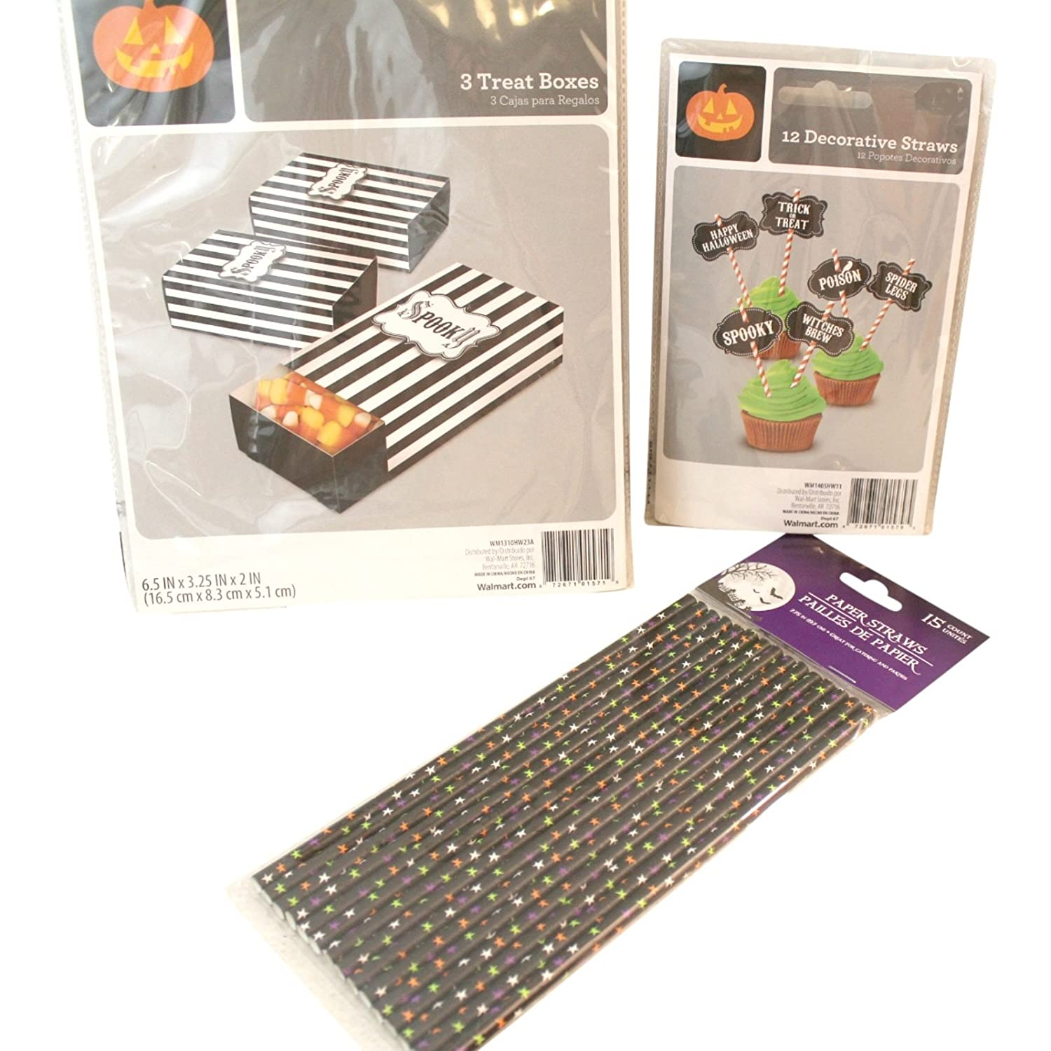 Amazon.com: Halloween Cupcake, Treat Boxes, and Paper Straws Decorating Bundle: 12 Cupcake Decorative Straws, 3 Treat Boxes, 15 Star Paper Straws: Home & ...