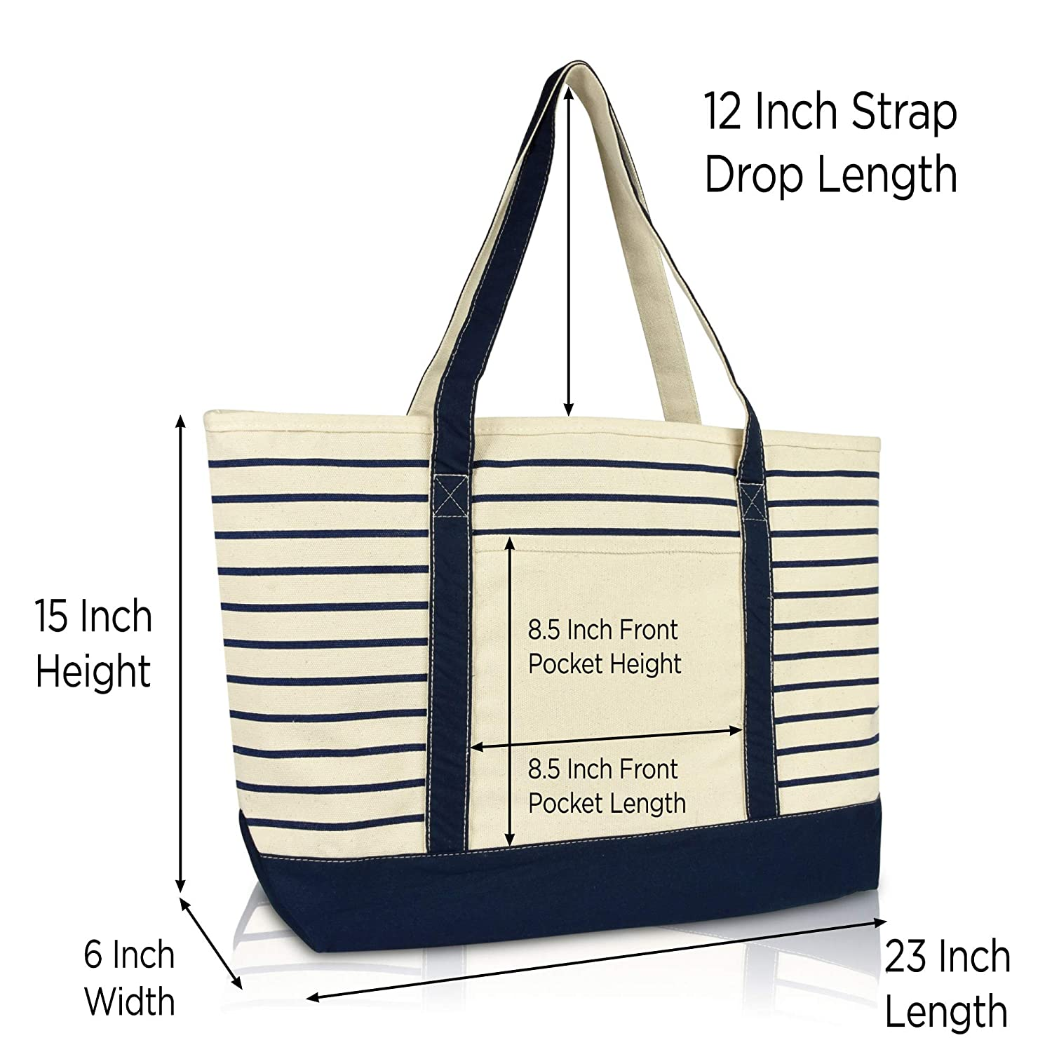 be33df490ab Amazon.com: DALIX Large Stripe Tote Deluxe Shoulder Bag Cotton Canvas in  Navy Blue: DALIX USA