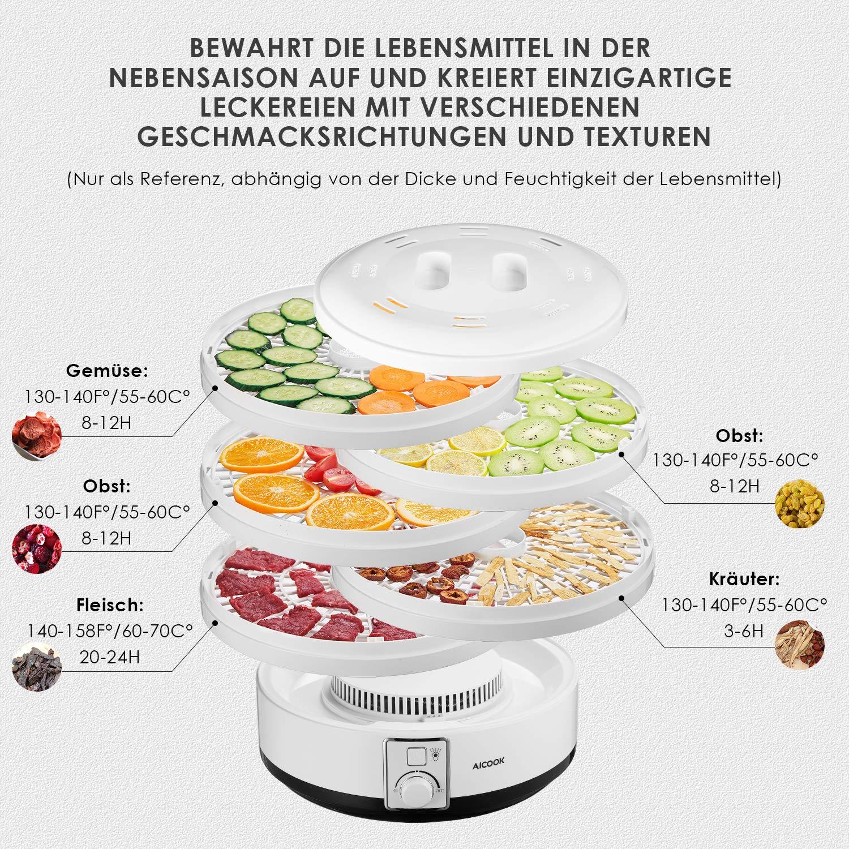 Dörr Automat Gerät Trockner Obst Gemüse Fisch Fleisch Kräuter 500 Watt Leistung