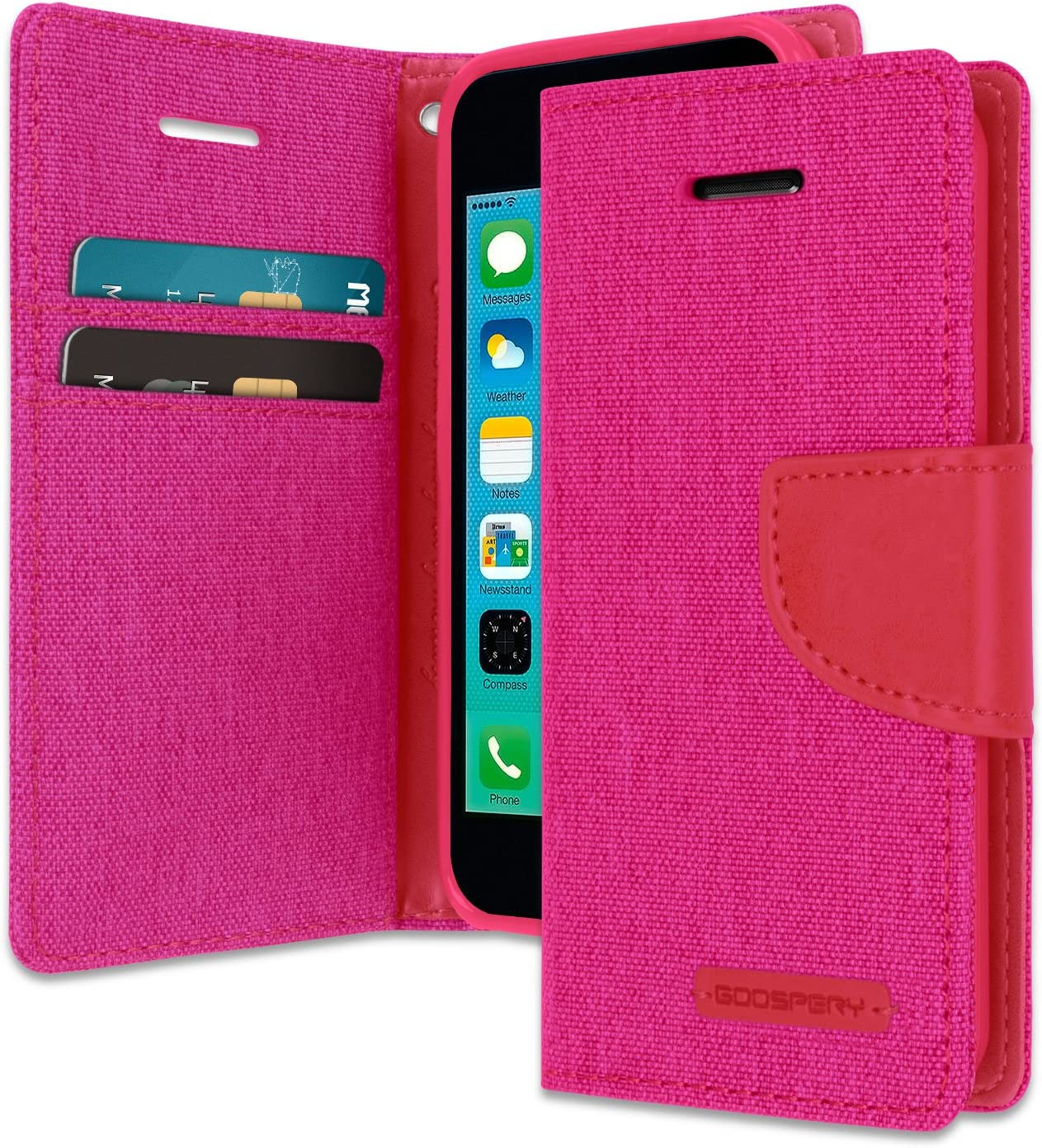 Goospery Canvas Wallet for Apple iPhone 5C Case (2013) Denim Stand Flip Cover with 6 Gifts (Pink) IP5C-CAN/GF-PNK