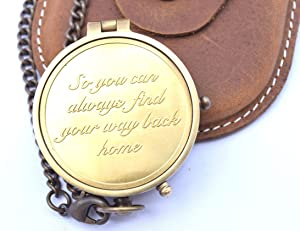 """NEOVIVID Camping Compass Engraved with """"So You Can Always Find Your Way Back Home"""", Gift Compass for Christmas, Anniversary Gifts"""