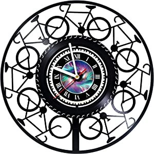 Cycling - Biking - Bicycles - Cool Handmade Vinyl Record Wall Clock - Get unique home room or office wall decor - Kidsroom wall art - Gift ideas for boys and girls – Leave a feedback and win a clock