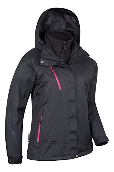 Mountain Warehouse Chaqueta impermeable 3 en1 Bracken Extreme para mujer - Capa impermeable para la lluvia, capucha desmontable para mujer, ...
