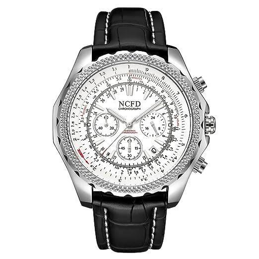Astarsport - Calendario cronógrafo con 3 pequeños Relojes Deportivos para Hombre, de Lujo, Casual, Reloj de Piel auténtica: Amazon.es: Relojes