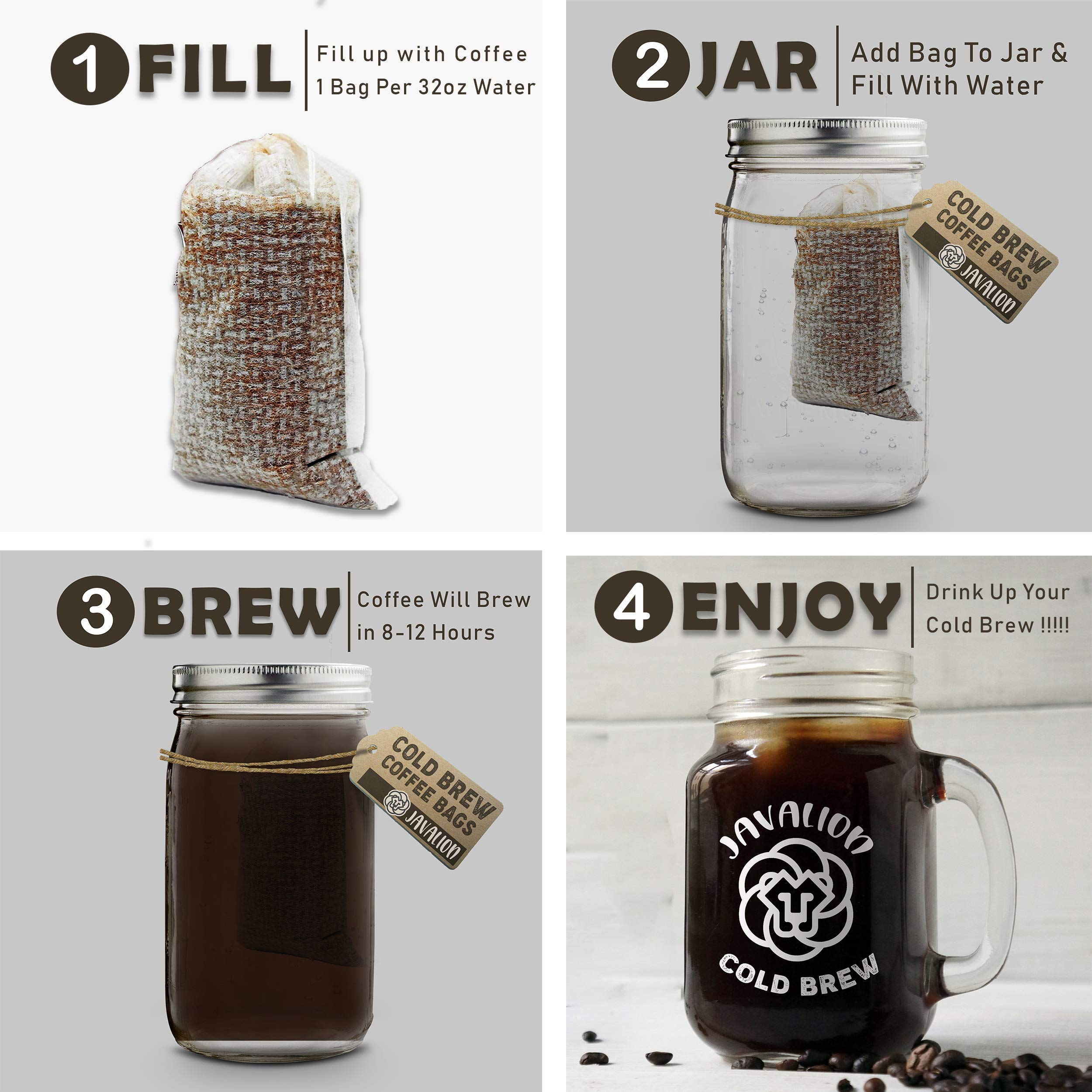 Cold Brew Coffee Bags – Easily Make Great Cold Brew Coffee at Home with JavaLion's All Natural Single-Use Cold Brew Coffee Filters. LARGE 4x6 in. Cold Brew Filters Fine Mesh Brewing Bags [30 COUNT] by JavaLion (Image #2)