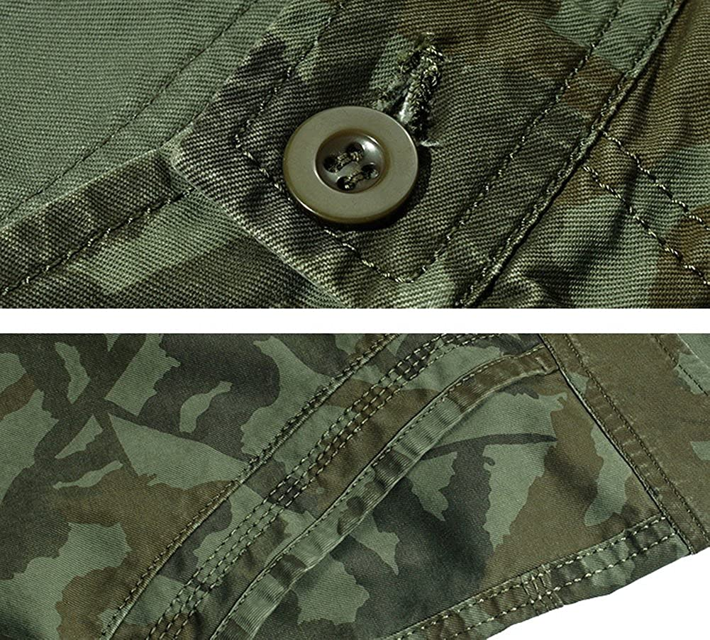 COLINNA Mens Summer Cotton Twill Multi-Pocket Casual Camo Cargo Shorts