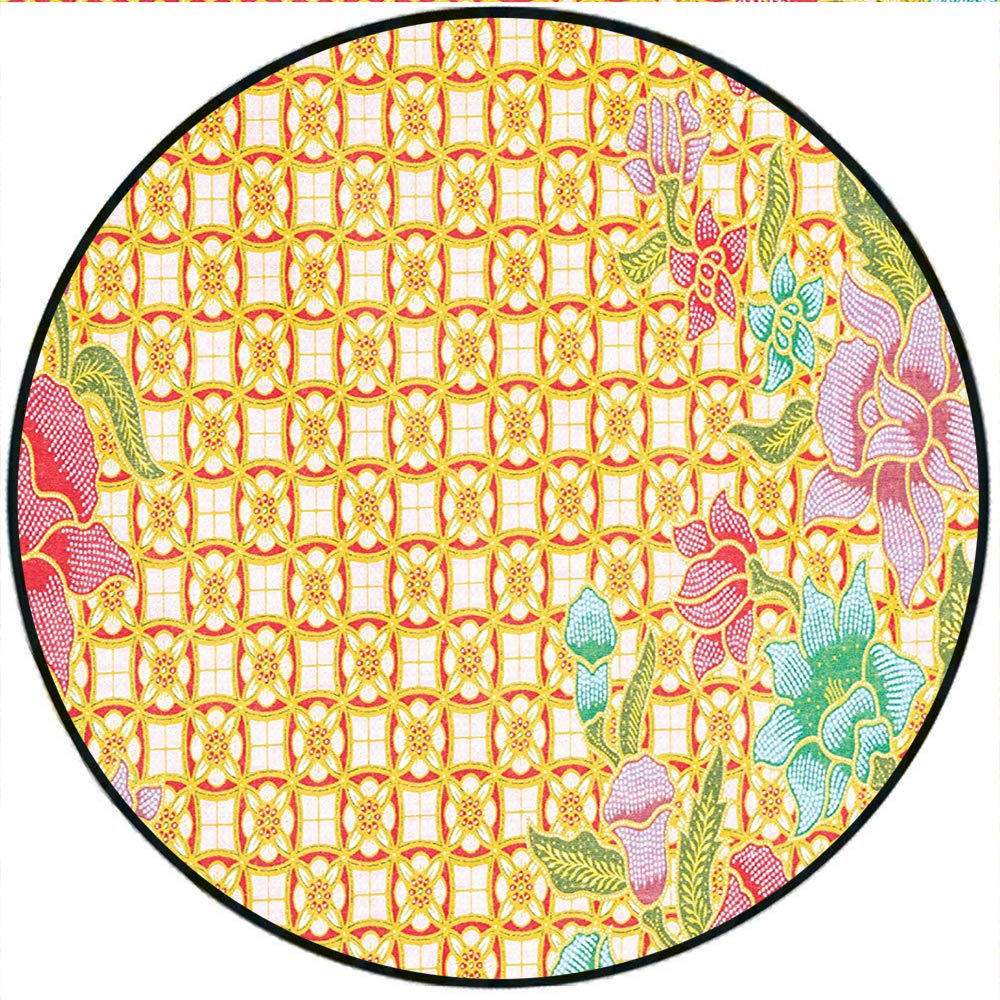 Short Plush Round Carpet Traditional Malaysian Batik Form with Flower and  Leaves Javanese Heritage Zen Design Used in a Variety of venues 35.4