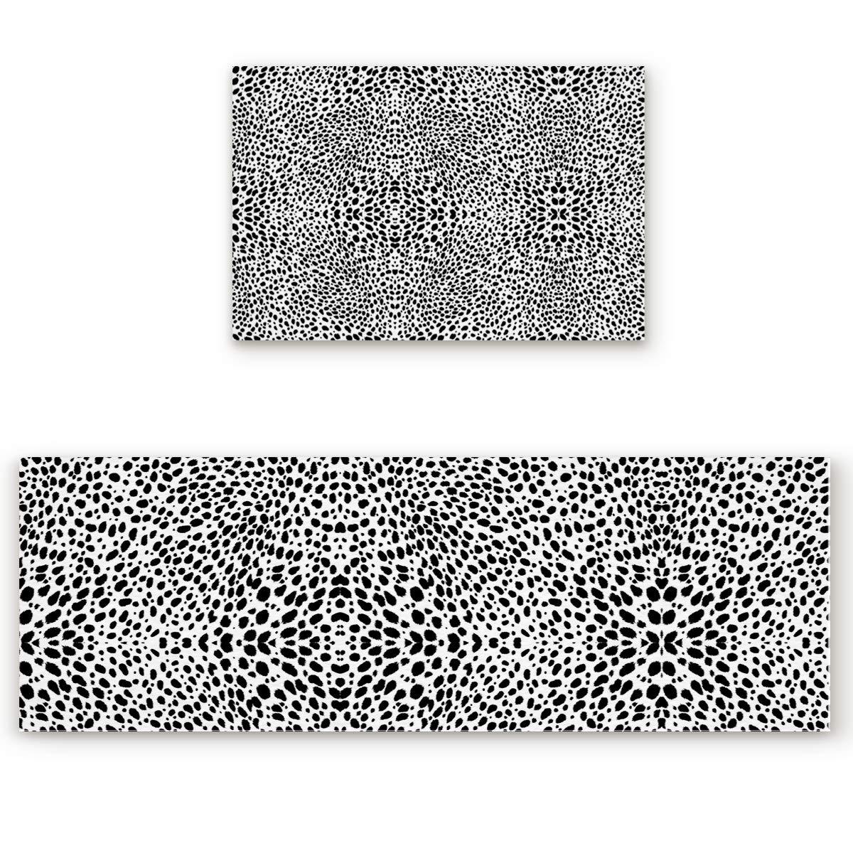 23.6\ SODIKA 2 Pieces Kitchen Rug Set,Non-Skid Slip Washable Doormat Floor Runner Bathroom Area Rug Carpet,Animal Leopard Print (23.6x35.4in+23.6x70.9 inches)
