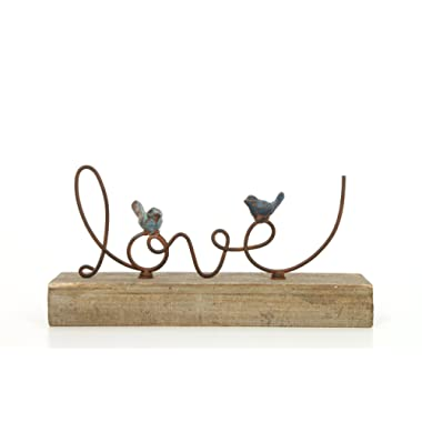 Hosley 10.5  Long, Decorative Tabletop Love Word Art with Birds. Ideal Gift for Wedding, Home, Party Favor, Spa, Reiki, Meditation, Bathroom Settings O9